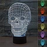 Creativo Cráneo 3d led luz nocturna, fzai impresionante Ilusión Óptica 7colores de niño de cálculo de dormitorio de escritorio de lámpara de la fragancia de interruptor grandes regalos