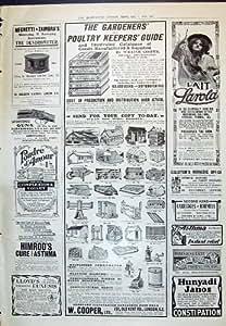L'Impression Antique de la Volaille 1910 de Jardinier de Tonnelier de Publicité Guident Larola Poud...