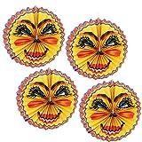 com-four® 4er Set Kinder Laterne aus Papier im Sonnendesign, Lampion für Kinder (004 Stück - Mond V2)