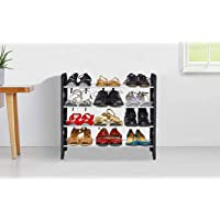 LookNSnap 4 Shelves Shoe Rack , 12 Pairs, Metal & Plastic (Small) (Black & Silver)