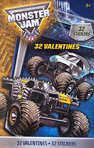 Monster Jam Valentines Exchange Cards with Stickers by Paper Magic