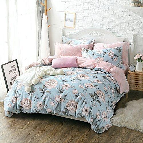 FADFAY Shabby Bettbezug mit Blumenmuster, Bettwäsche Set Baumwolle Schlafzimmer Set 4-Teilig, Full/Queen Full Shabby Floral (Baumwolle Bettwäsche Queen Floral)