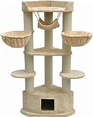 nanook Kratzbaum XXL Katzenkratzbaum Bellevue für große Katzen - mit Teppich Kratzstämmen - 170 x 90 x 60 cm - beige