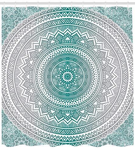 ABAKUHAUS Mandala Duschvorhang, Schatten-Mandala, mit 12 Ringe Set Wasserdicht Stielvoll Modern Farbfest und Schimmel Resistent, 175x200 cm, Grau Teal
