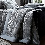 Catherine Lansfield Crushed Velvet Bedspread Silver, 220x220cm