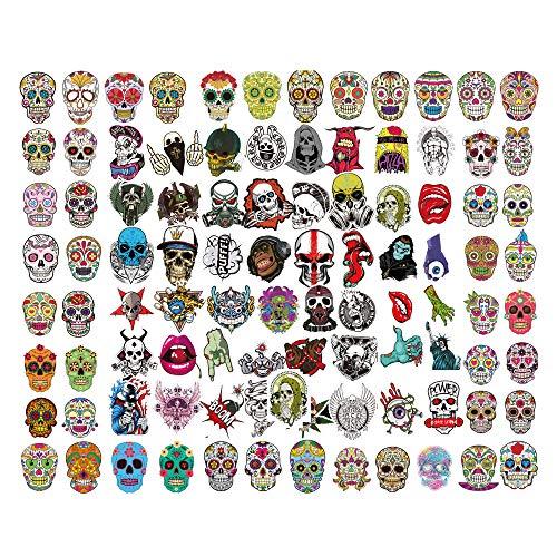 Sugar Skull Sticker, 100 Stück, Graffiti-Aufkleber, Totenkopf-Aufkleber, Autoaufkleber, Personalisieren von Laptops, Skateboard, Snowboard, Auto, Motorrad, Helm, Gepäck, Fahrräder, Aufkleber