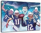 New England Football, Fan Artikel Leinwandbild, Größe: 100x70cm, Auf Holzrahmen gespannt, Kein Poster oder billig Plakat, Must Have für echte Fans