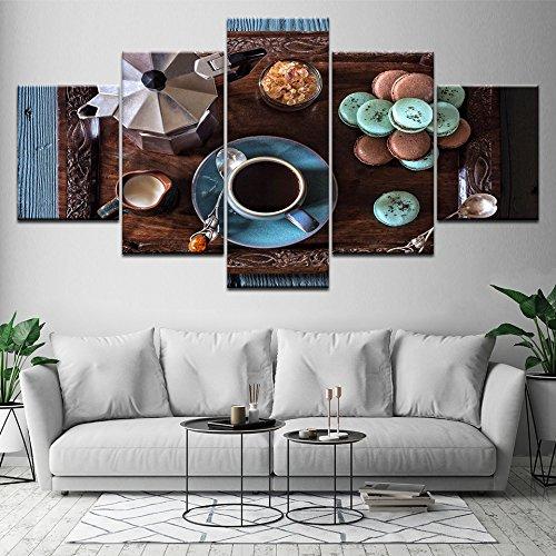 Zaosan Dekoration Leinwand Ölgemälde Rahmen 5 Stück Kaffeetasse Bild Küche Essen Dessert zu Hause Wandkunst Poster