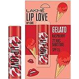 Lakmé Lip Love Gelato Chapstick, Moisturizing Tinted Lip Balm With Spf 15, Crème Finish, 4.5 g - Raspberry