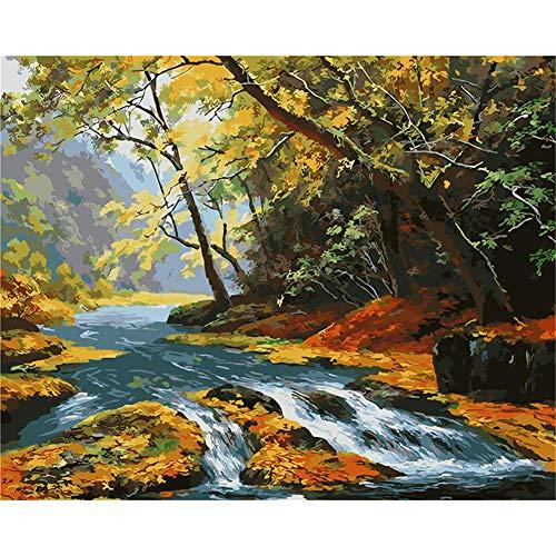 Painting shop Neue Malen nach Zahlen für Erwachsene Kinder - Riverside Autumn - Leinen Leinwand - DIY Digital Malen nach Zahlen Kits auf Leinwand.
