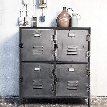 Maison Esto Kommode New Vintage 4 Turen Metall Vintage Anthrazit