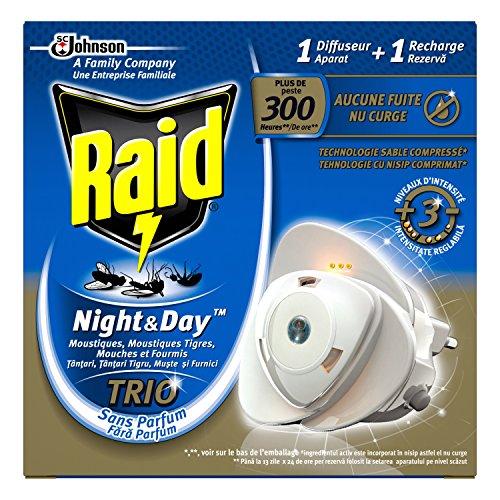 Raid diffusore elettrico a sabbia compresso, zanzariera e, zanzare tigri, mosche e formiche, 1ricarica, night & day trio, insetticida