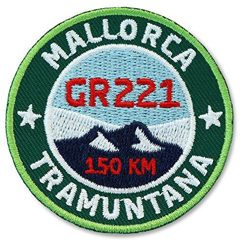 Club-of-Heroes 2 x Mallorca GR221 Abzeichen gestickt 55 mm grün/Fernwanderweg GR-221 Tramuntana Wanderabzeichen Aufnäher Aufbügler Sticker Patch/Wandern Karte Wanderführer Reiseführer