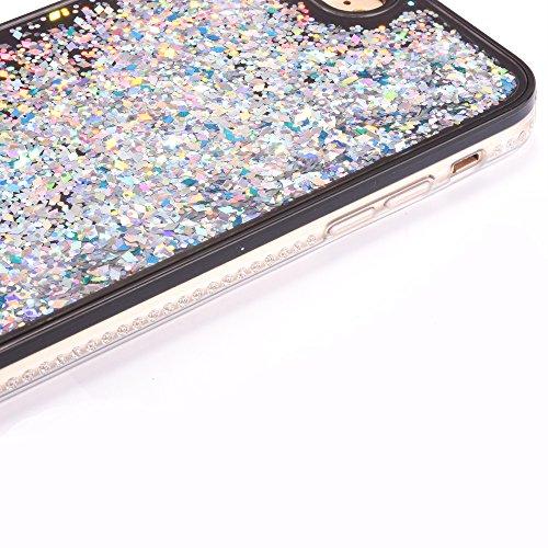 """iPhone 6s Handyhülle, iPhone 6 TPU Softcase, CLTPY Kreativ 3D Dynamisch Treibsand Glanz Fließen Flüssig Schwimmend Herz Stern Shale Etui, Schwarz Stoßfest Silikon Rückseite Hülle für 4.7"""" Apple iPhone Diamont-Weiß"""