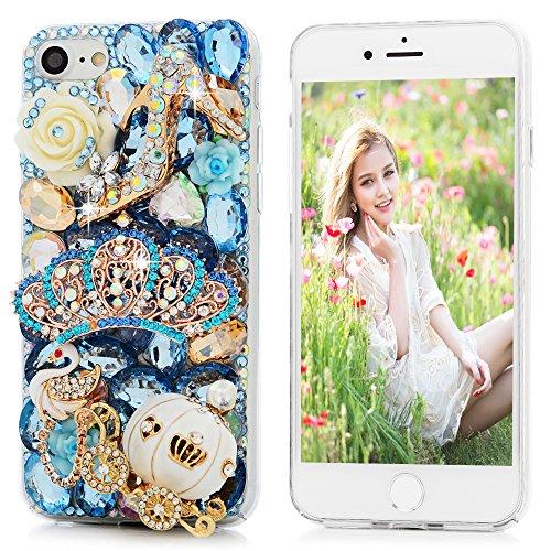 Mavis's Diary Coque iPhone 7 PC Rigide Transparent Bling Strass Couronne Housse de Protection Étui Téléphone Portable Phone Case Cover+Chiffon style 3