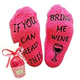 Luxury Pink Wine Socks with Cupcake Gift Packaging: Romantic Valentines Day Gifts for Her with If You can Read This Bring me Wine Phrase - Funny Wine Accessory for Women - Present for Wife - by Miana Creations
