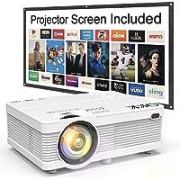 Projecteur QKK 5000 Lumen 1080P Full HD Supporté, Vidéoprojecteur HD 720P Natif Compatible avec TV Stick PS4 Smartphone HDMI VGA SD AV USB, Projecteur Home Cinéma, Blanc.