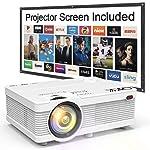 QKK Beamer, AK-81 Mini Projektor mit Screen, 3600 Lumen Videoprojektor, Unterstützt 1080P Full HD, Kompatibel mit TV...