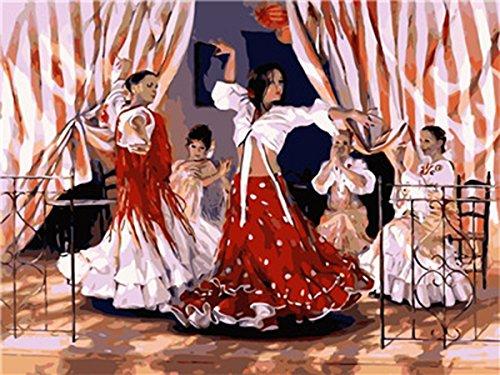 2 Dance Kinder Just (shukqueen DIY Ölgemälde, Erwachsene 's Malen nach Zahlen Kits, Acryl Gemälde Gypsy Dance 40,6x 50,8cm, Dance, Frameless,Just Canvas)