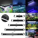 GreenSun 6W Éclairage Aquarium LED, Lumière Aquarium Plantes 2835SMD 72LEDs (30 Blanc+ 6 Bleu), 2 Mode Lampe LED, Extensibles Longueur, pour Aquarium de 28-50cm