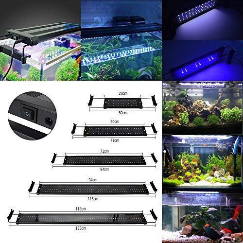 GreenSun 25W Aquarium Beleuchtung LED Aquariumlicht Aquariumleuchten Aquariumlampen 144 * 2835SMD 120 weiß +24 blau 10cm Docking Halterungen Einstellbare Länge für Fisch Tank 94cm-114cm