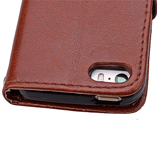 iPhone 5C Hülle Leder,iPhone 5C Hülle Silikon,iPhone 5C Hülle Flip Case,iPhone 5C Cover,EMAXELERS iPhone 5C Leder Handy Tasche Wallet Case Flip Cover Etui,PU Leder Flip Wallet Hülle für iPhone 5C,iPho Clover 5