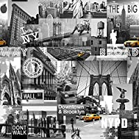 Muriva Big Apple York City Wallpaper Black / Grey / Yellow by Muriva Ltd by Muriva Ltd