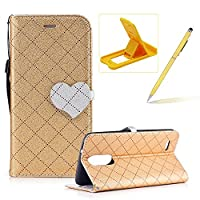 Strap Leather Case for LG K8 2017,Grid Checked Smart Leather Cover for LG K8 2017,Herzzer Stylish Love Heart Magnetic Buckle Design Wallet Folio Case Full Body PU Leather Protective Stand Cover with Inner Soft Silicone Shell for LG K8 2017 + 1 x Free Yell