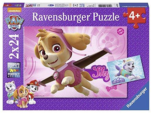 PAW PATROL Rompecabezas 2 x 24 piezas + 4 a&ntildeos (Ravensburger 9152