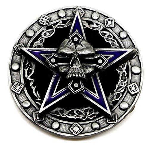 Schädel & Pentagramm Gürtelschnalle - Schwer & Komplett in 3D - Authentische Pagan Buckles Markenprodukt (Pentagramm-gürtelschnalle)