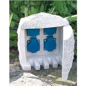 Steinsteckdose Aussensteckdose 4fach im Stein