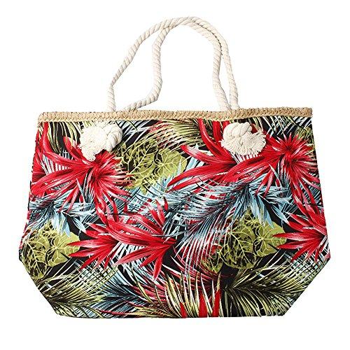 Accessoryo - womens multicolore sac imprimé floral de plage avec des lanières de corde