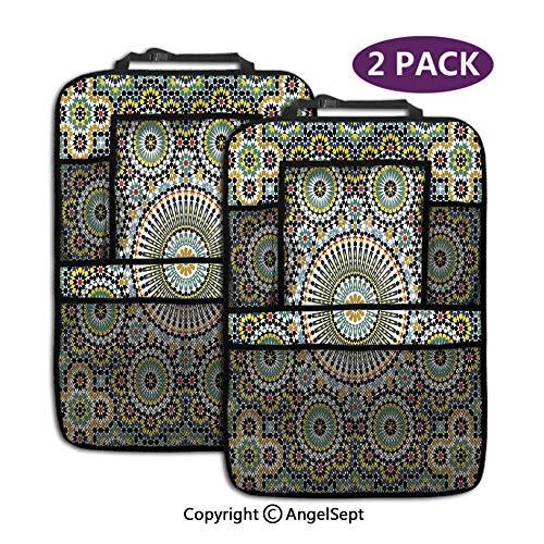 Not applicable Auto-Rücksitz-Organisator 2pcs, ethnisches marokkanisches nahöstliches orientalisches traditionelles Weinlese-islamisches Mosaik-Motiv, gepasst mit 9,5-Zoll-Tablet-Halter