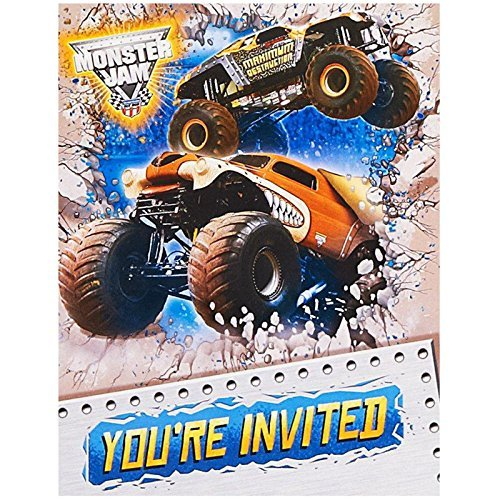 Monster Jam Party Supplies - Invitations (8) by BirthdayExpress (Supplies Monster Jam Party)