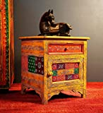 #7: Theshopy Wooden Hand Made Hand Painted Bed Side With 1 Drawer 1 Door #A537A
