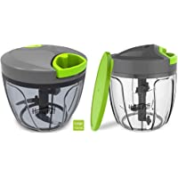 Home Puff HP-MED-CHPR Vegetable Chopper with 3 Stainless Steel Blade, Green & Plastic 5 Blades Vegetable Chopper with Storage Lid, 900ml Combo