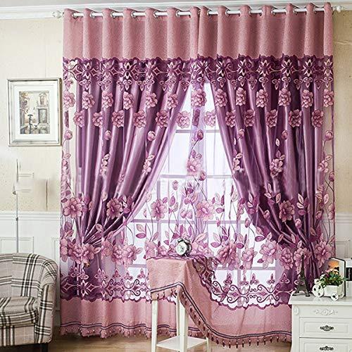 Chennie floral brillian pieghe voile drappeggiate tende oscuranti pannello divisorio 2 strati gommino decorativo tende per soggiorno camera da letto (color : light purple)