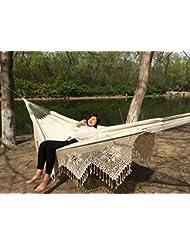 YZD Alta calidad 360LX160Wcm algodón blanco al aire libre de la lona de la persona 2 hamaca portable de la franja de la hamaca de la borla
