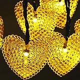 20 LED Herz Geformte Solar im Freien Feenhafte Schnur Lichter, KEEDA 15.7ft Wasserdichte Weihnachtsbaum-Lichter, Angetriebene Garten Solarlichter für im Freienweihnachtsfest Dekoration Lichter (Warmweiß)