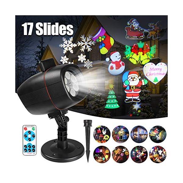 Proiettore Luci Natale Esterno, InnooLight Proiettore Natale con 17 diapositive a tema colorato, IP65 Impermeabile… 1 spesavip