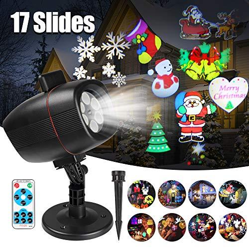 LED Projektor, InnooLight Weihnachtsbeleuchtung Aussen Projektionslampe mit 17 Folien, IP65 Wasserdicht RF Fernbedienung für Weihnachten, Geburtstag, Valentinstag,...