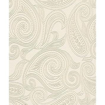 Tapete weiß beige  Barbara Becker - Rasch Tapete Paisley Motiv Muster Struktur ...