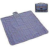 Artone Coperta Telo Pic-Nic Tappeto Campeggio Giardino Impermeabile Pieghevole Manico Multiuso 200Cm X 200Cm Blu