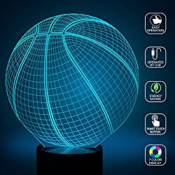 Baloncesto 3d lámparas Illusions óptico, fzai Amazing 7Changing Colors acrílico Touch Button mesa escritorio Night Light con 150cm cable USB decoración de casa