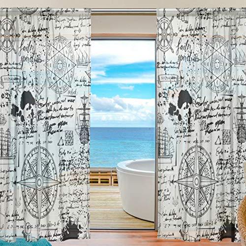 funnyy Lustiger Fenstervorhang mit Kompass, nautischer Anker-Tüll, Voile-Vorhang, Vorhänge für Schlafzimmer, Wohnzimmer, Wohnzimmer, Heimdekoration, 139,7 x 198 cm, 2 Paneele, 55 x 84 inch