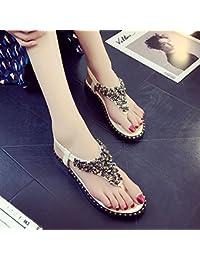 Damen Sommer Sandalen Toe Clip Gummizug Flachbild Bequeme Rutschfeste Pailletten, Weiß, 40