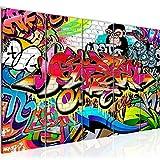 Bilder Graffiti Street Art Wandbild 150 x 60 cm Vlies - Leinwand Bild XXL Format Wandbilder Wohnzimmer Wohnung Deko Kunstdrucke Rot 5 Teilig - MADE IN GERMANY - Fertig zum Aufhängen 401756a