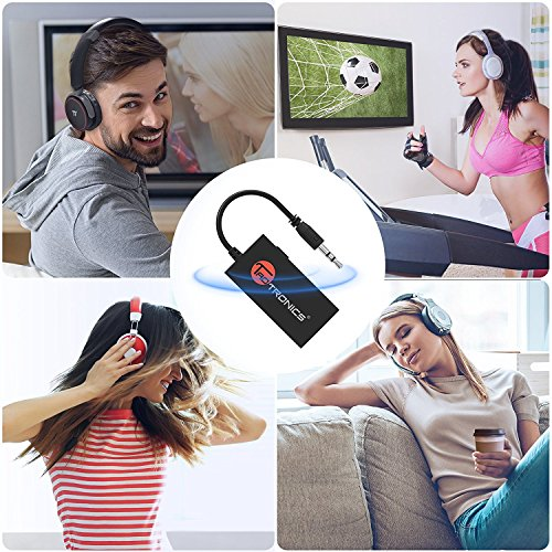 Bluetooth Transmitter, TaoTronics Portable Wireless Stereo Music Transmitter for 3.5mm Audio Devices, Paired with Bluetooth Receiver, TV Ears, Bluetooth Dongle, A2DP Stereo Music Transmission (Not A Bluetooth Receiver)