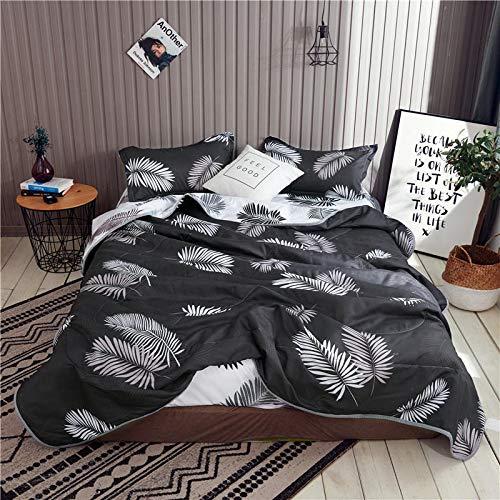 F-jiujin, 1 Stück Sommer Gesteppte Bettdecken Set schwarz und weiß reaktiv gedruckt maschinengewaschene Doppelbettdecken Queen Quilt Set (Color : Type 1, Size : 1pc Quilt 200x230cm) -