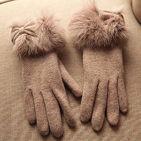 KHSKX Pelo Coniglio bracciale inverno touch screen guanti caldi slim ladies pura lana-pelliccia guanti,kaki